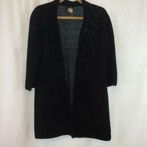 J Crew Black Crochet Sweater Cardigan